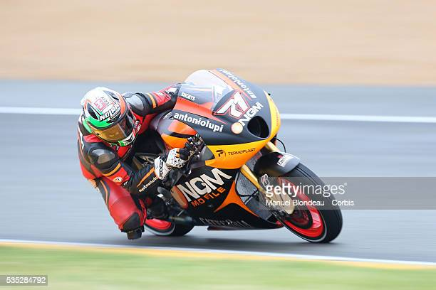 Claudio Corti of Italy and NGM Mobile Forward Racing rides during the MotoGP warm up session of the Monster Energy Grand Prix de France which is...