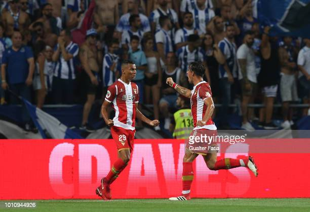 Claudio Falcao of Desportivo das Aves celebrates with teammate Vitor Gomes of Desportivo das Aves after scoring a goal during the Portuguese Super...