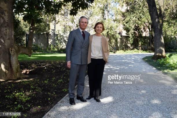 Claudio Ferraris and Anna Zegna attend the Exhibition Press Conference 'Di Padre on Figlio of Ettore Pistoletto Olivero and Michelangelo Pistoletto'...