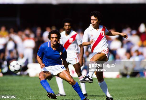 Claudio Gentile of Italy and Cesar Cueto of Peru during the World Cup match between Italy and Peru at Balaidos Stadium Vigo Spain on 18h June 1982