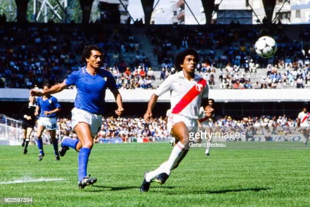 Claudio Gentile of Italy and Jorge Olaechea of Peru during the World Cup match between Italy and Peru at Balaidos Stadium Vigo Spain on 18h June 1982