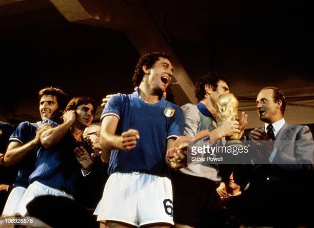 Claudio Gentile of Italy celebrates winning the 1982 FIFA World Cup Final against West Germany on 11th July 1982 at the Santiago Bernabeu Stadium in...