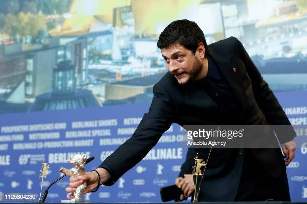 Claudio Giovannesi attends a press conference after winning Silver Bear for Best Screenplay with La Pranza dei bambini during the 69th Berlinale...