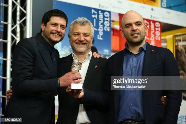 Claudio Giovannesi Maurizio Braucci and Roberto Saviano winner of the Silver Bear for Best Screenplay attend the award winners press conference...
