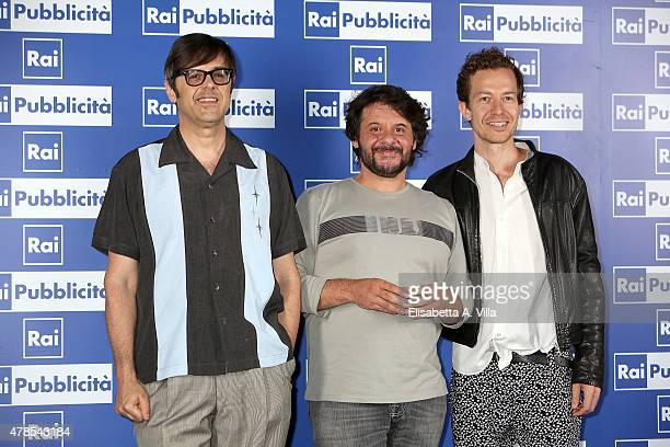 Claudio Gregori Pasquale Petrolo and Alex Braga attend RAI Yearly TV Show Schedule at Villa Piccolomini on June 25 2015 in Rome Italy