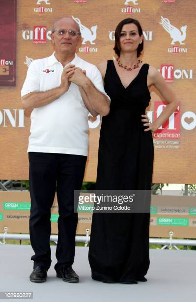 Claudio Gubitosi and Claudia Pandolfi attend a photocall during Giffoni Experience 2010 on July 18 2010 in Giffoni Valle Piana Italy