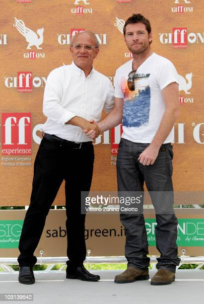 Claudio Gubitosi and Sam Worthington attend a photocall during Giffoni Experience 2010 on July 28 2010 in Giffoni Valle Piana Italy