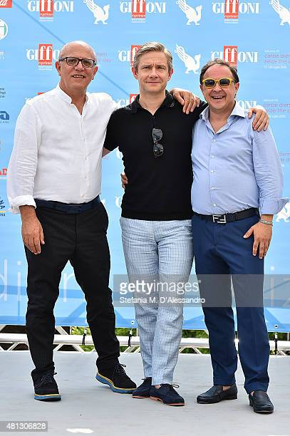 Claudio Gubitosi Martin Freeman and Piero Rinaldi attend Giffoni Film Festival 2015 Day 3 photocall on July 19 2015 in Giffoni Valle Piana Italy