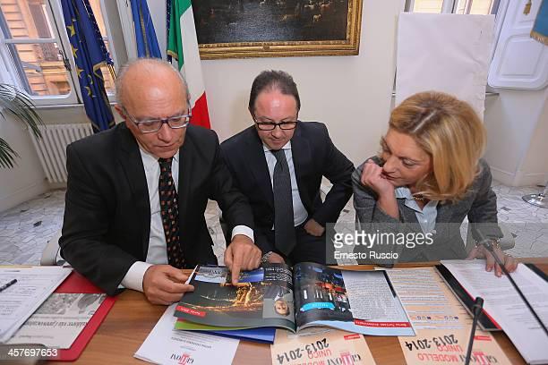 Claudio Gubitosi Pietro Rinaldi Caterina Miraglia attend the '2013 Giffoni Experience' press conference at Sede Regione Campania a Roma on December...