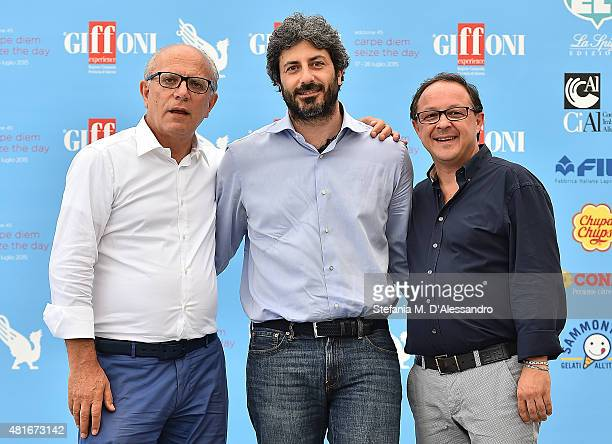 Claudio Gubitosi Roberto Fico and Piero Rinaldi attend Giffoni Film Festival 2015 Day 7 photocall on July 23 2015 in Giffoni Valle Piana Italy