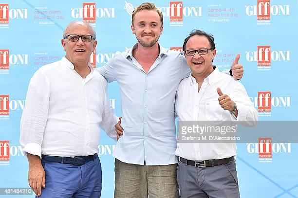 Claudio Gubitosi Tom Felton and Piero Rinaldi attendthe Giffoni Film Festival 2015 Day 5 photocall on July 21 2015 in Giffoni Valle Piana Italy