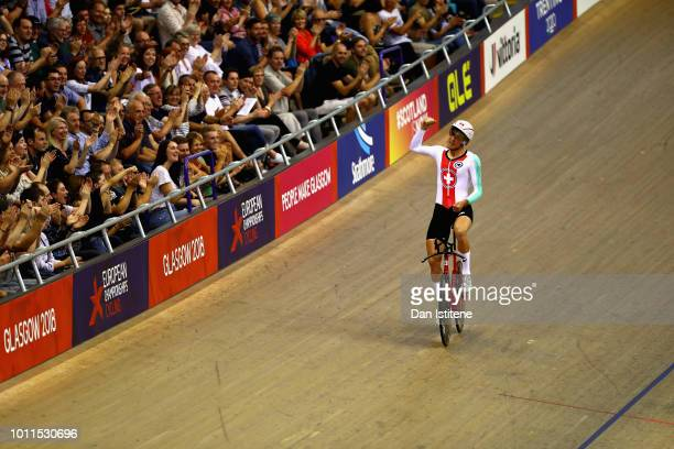 Claudio Imhof of Switzerland celebrates winning in the Bronze final of the Men's 4000m Individual Pursuit during the track cycling on Day Four of the...