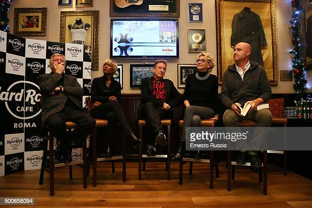 Claudio Lippi Amii Stewart Dario Salvatori Enrica Bonaccorti and Rudy Zerbi attend the presentation of 'Il Salvatori 2016' song dictionary at Hard...