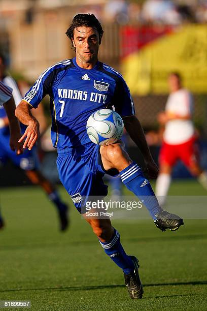 Claudio Lopez of the Kansas City Wizards controls the ball against the New York Red Bulls during the game at Community America Ballpark on July 10,...