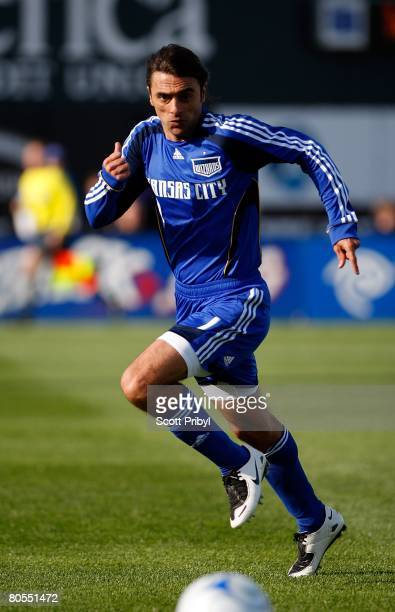 Claudio Lopez of the Kansas City Wizards runs towards the ball during the game against the Colorado Rapids at Community America Ballpark on April 5,...