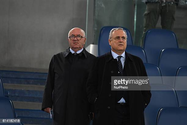Claudio Lotito and Carlo Tavecchio during the match for the peace Uniti per la Pace at the Olympic Stadium in Rome on october 12 2016