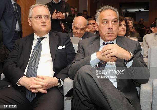 Claudio Lotito and James Pallotta attends the 'Il calcio che VogliAMO' press conference at Sala Buzzati on May 20 2013 in Milan Italy