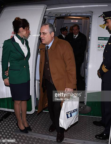 Claudio Lotito arrives at Sofia Airport ahead of their EURO 2016 Qualifier against Bulgaria on March 27 2015 in Sofia Bulgaria
