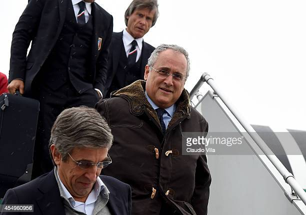 Claudio Lotito arrives to Oslo Airport on September 8 2014 in Oslo Norway