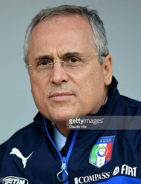 Claudio Lotito attends Italy Training Session at Stadio San Nicola on September 3 2014 in Bari Italy