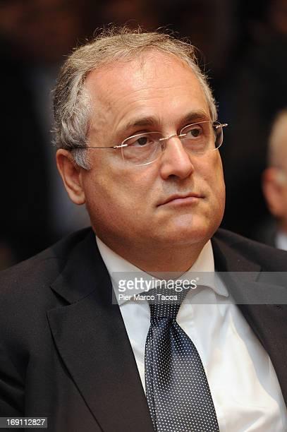 Claudio Lotito attends the Il calcio che VogliAMO press conference at Sala Buzzati on May 20 2013 in Milan Italy