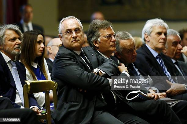 Claudio Lotito attends the Italian Football Federation Annual Report at Palazzo Montecitorio on May 24 2016 in Rome Italy