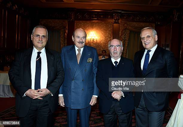 Claudio Lotito President Gruppo 24 ORE Benito Benedini President FIGC Carlo Tavecchio and President Infront Italy Marco Bogarelli during the Federal...