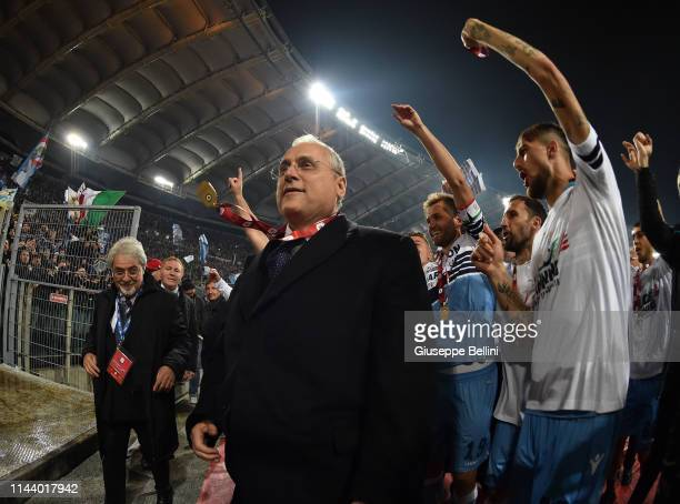 Claudio Lotito President of SS Lazio celebrates the victory after the TIM Cup Final match between Atalanta BC and SS Lazio at Stadio Olimpico on May...