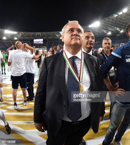 Claudio Lotito President of SS Lazio celebrates the victory after the Italian Supercup match between Juventus and SS Lazio at Stadio Olimpico on...