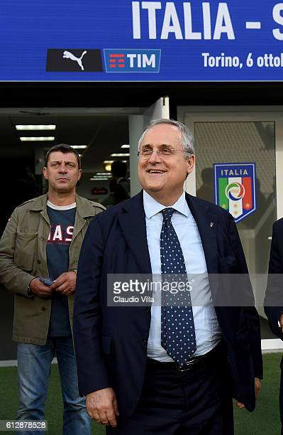 Claudio Lotito prior to the press conference at Juventus Stadium on October 5 2016 in Turin Italy