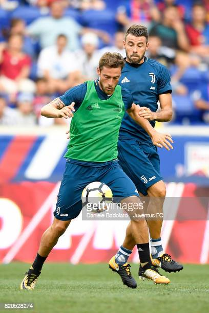 Claudio Marchisio and Andrea Barzagli at a training session during the Juventus Summer Tour on July 21 2017 in New York City