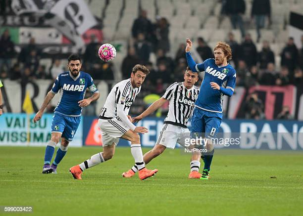 Claudio Marchisio and Davide Biondini during the serie A match between Juventus FC and US Sassuolo Calcio at the Juventus Stadium of Turin on march...