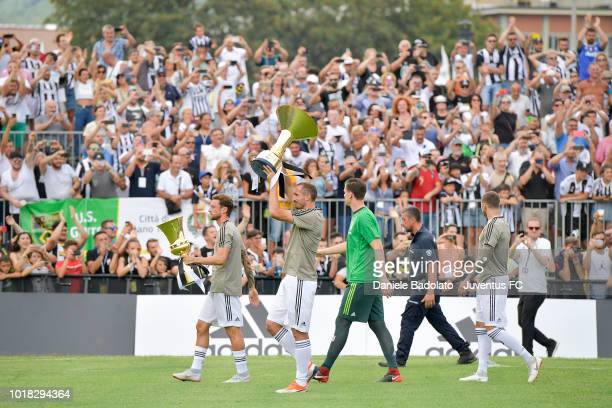 Claudio Marchisio and Giorgio Chiellini during the PreSeason Friendly match between Juventus and Juventus U19 on August 12 2018 in Villar Perosa Italy