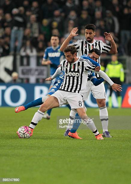Claudio Marchisio and Sami Khedira during the serie A match between Juventus FC and US Sassuolo Calcio at the Juventus Stadium of Turin on march 11...