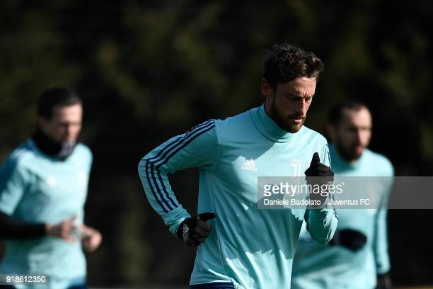 Claudio Marchisio during a Juventus training session at Juventus Center Vinovo on February 15 2018 in Vinovo Italy