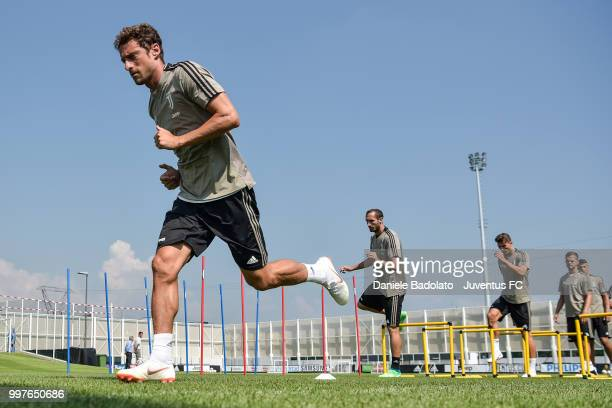 Claudio Marchisio during a Juventus training session at Juventus Training Center on July 13 2018 in Turin Italy