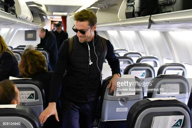 Claudio Marchisio during the Juventus travel to London ahead of the UEFA Champions League match vs Tottenham at on March 6 2018 in Turin Italy