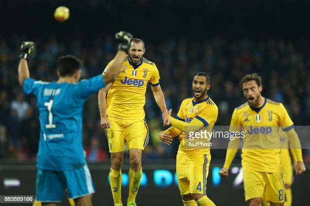 Claudio Marchisio Giorgio Chiellini and Gianluigi Buffon of Juventus celebration during the Serie A match between SSC Napoli and Juventus at Stadio...