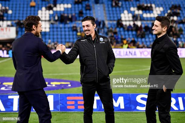 Claudio Marchisio Mattia Vitale and Federico Mattiello during the serie A match between Spal and Juventus at Stadio Paolo Mazza on March 17 2018 in...