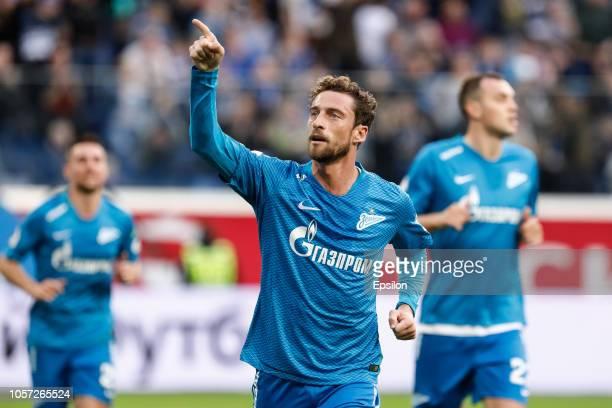 Claudio Marchisio of FC Zenit Saint Petersburg celebrates his goal during the Russian Premier League match between FC Zenit Saint Petersburg and FC...