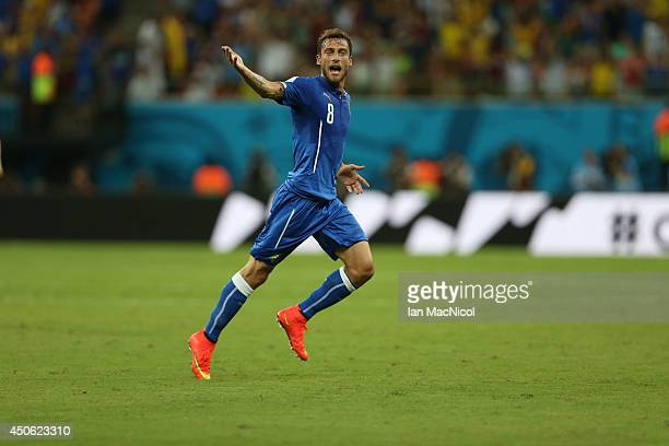 Claudio Marchisio of Italy celebrates scoring during the opening Group D match of the 2014 World Cup between England and Italy at Arena Amazonia on...