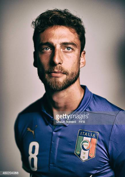 Claudio Marchisio of Italy poses during the official FIFA World Cup 2014 portrait session on June 6 2014 in Mangaratiba Brazil