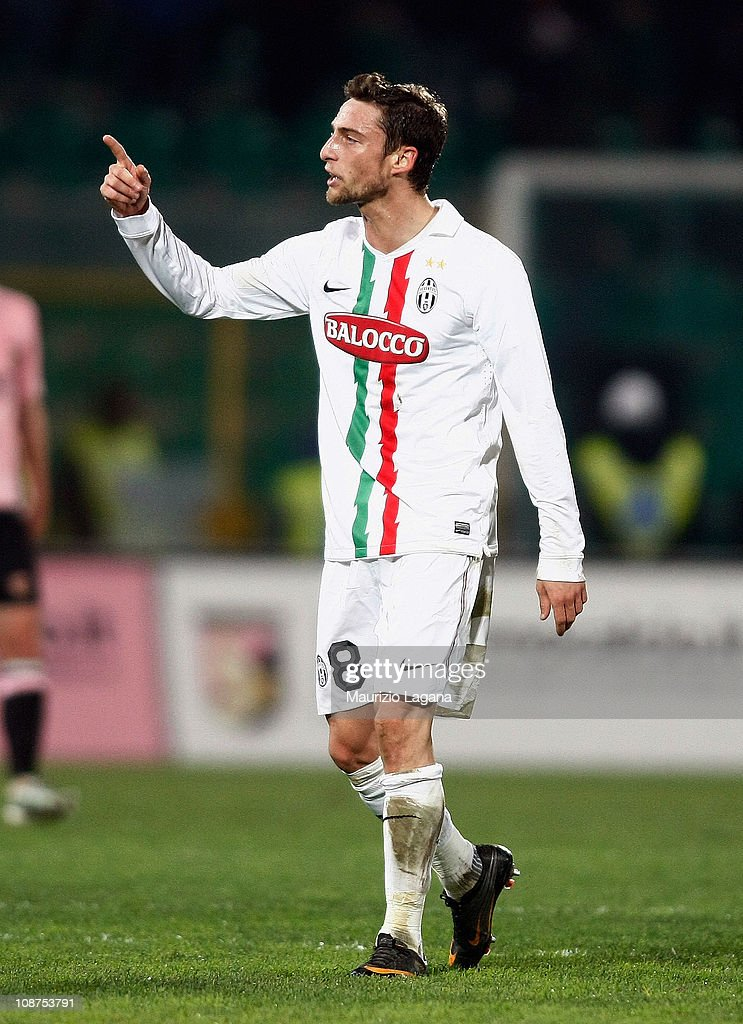 Claudio Marchisio of Juventus celebrates after scoring his team's first goal, bringing the score to 2-1 during the Serie A match between US Citta di Palermo and Juventus FC at Stadio Renzo Barbera on February 2, 2011 in Palermo, Italy.