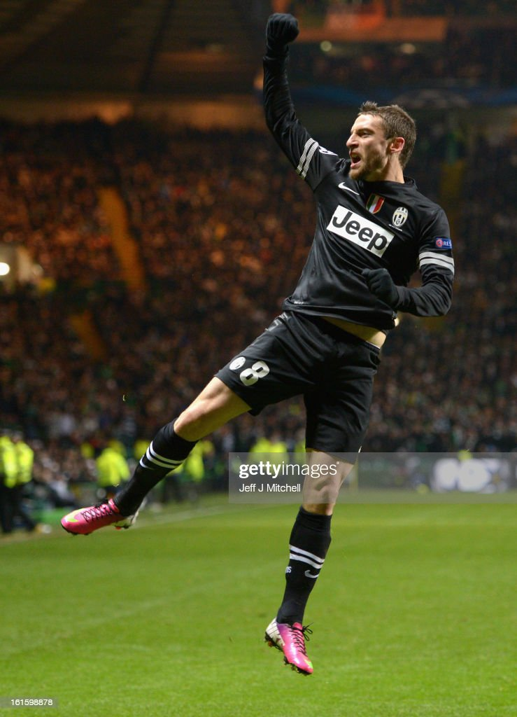Claudio Marchisio of Juventus celebrates scoring his team's second goal during the UEFA Champions League Round of 16 first leg match between Celtic and Juventus at Celtic Park Stadium on February 12, 2013 in Glasgow, Scotland.