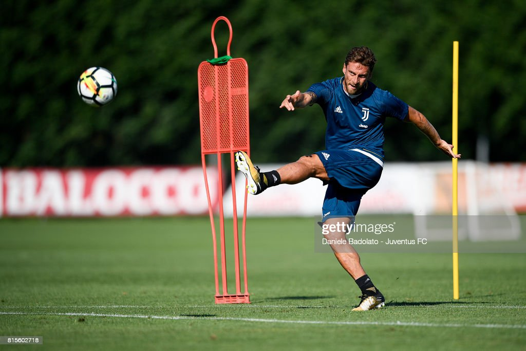 Claudio Marchisio of Juventus during a training session on July 16, 2017 in Vinovo, Italy.