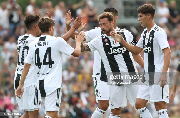 Claudio Marchisio of Juventus FC celebrates his goal with his teammates during the PreSeason Friendly match between Juventus and Juventus U19 on...