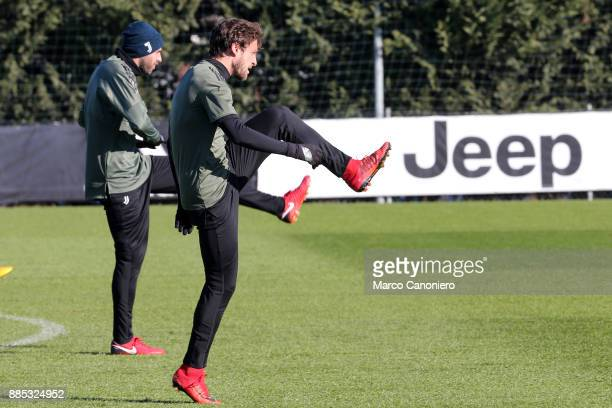 Claudio Marchisio of Juventus FC during the Juventus FC training on the eve of the UEFA Champions League football match between Olympiakos and...