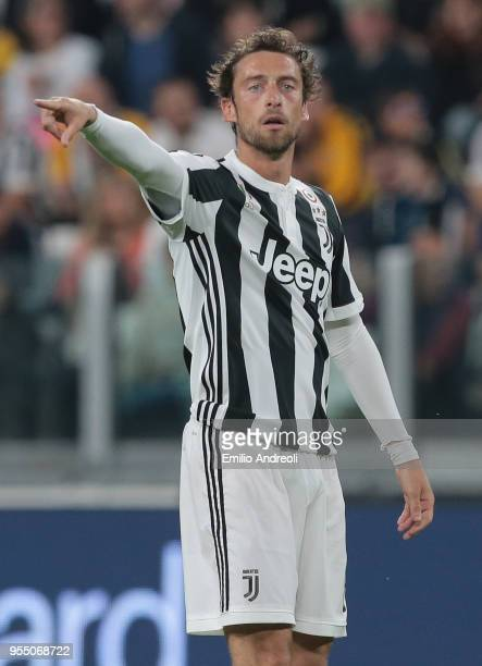 Claudio Marchisio of Juventus FC gestures during the serie A match between Juventus and Bologna FC at Allianz Stadium on May 5 2018 in Turin Italy