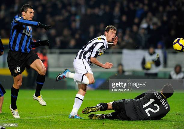 Claudio Marchisio of Juventus FC scores his team's second goal during the Serie A match between Juventus and Inter Milan at Stadio Olimpico on...