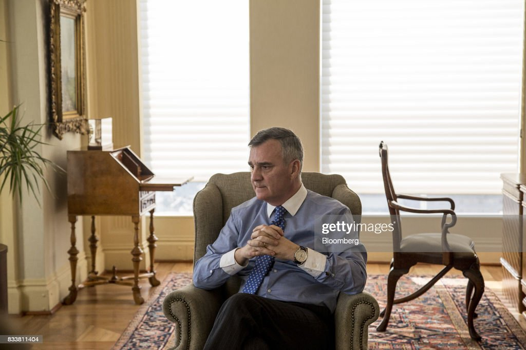 Claudio Melandri, chief executive officer of Banco Santander Chile, listens during an interview in Santiago, Chile, on Wednesday, Aug. 16, 2017. Banco Santander Chile is the largest bank in the region in terms of total assets and equity. Photographer: Cristobal Olivares/Bloomberg via Getty Images